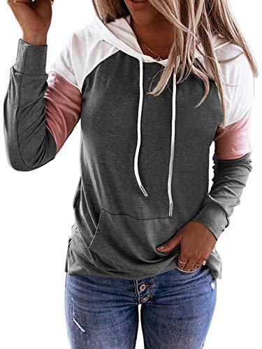nvIEFE Sudadera con capucha de manga larga con cordón y bolsillos, para mujer, con múltiples empalmes, color