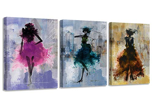 """Canvas Wall Art Sexy Black Girl Purple Pictures The Iron Tower Manhattan Cityscape, Lady Teal Modern New York City Artwork, Yellow Girl Sexy Elegant Empire Building Painting Prints framed for Office Bedroom Bathroom Home Decor- 12""""x16""""x3 Panels"""