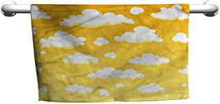 flybeek Yellow and White,Clouds in The Sky,Hanging Towel Rack for Bathroom