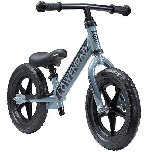 LÖWENRAD Kinderlaufrad ab 3, 4 Jahre, 12 Zoll Jungen und Mädchen Laufrad, leichtes Kinderrad Lauflernrad höhenverstellbar, Grau | Risikofrei Testen