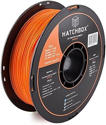HATCHBOX PLA 3D Printer Filament, Dimensional Accuracy +/- 0.03 mm, 1 kg Spool, 1.75 mm, Orange