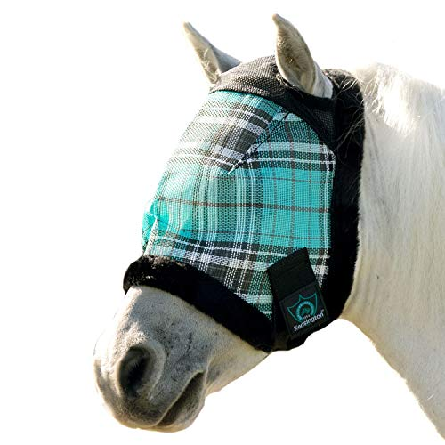 Kensington Fly Mask Fleece Trim for Horses - Protects Face, Eyes from Flies, UV Rays While Allowing Full Visibility - Breathable Non Heat Transferring, Perfect Year Round, (A, Black Ice)