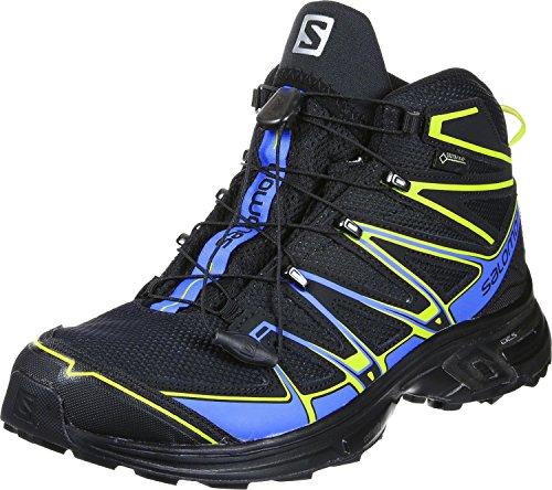 Salomon SALOMON Herren L39183200 Trekking- & Wanderstiefel, Schwarz (Black/Bright Blue/Gecko Green Black/Bright Blue/Gecko Green), 41 1/3 EU