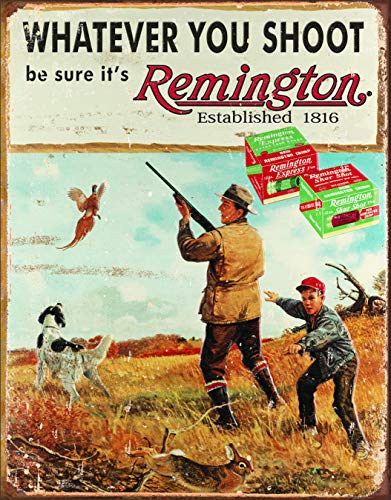 "Desperate Enterprises Whatever You Shoot Be Sure It's Remington Tin Sign, 12.5"" W x 16"" H"