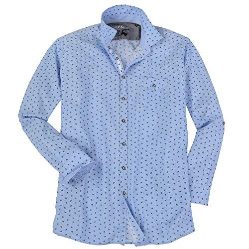 Jupiter Hemd Übergrößen Herren Trachtenhemd mit Brezen-Muster blau_175 7XL