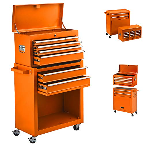 High Capacity 8-Drawer Rolling Tool Chest, Tool Chest Tool Cabinet, Removable Portable Tool Box Organizer with Lock,...