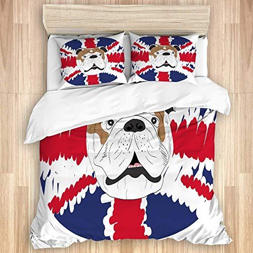 Juego de funda nórdica de 3 piezas, icono de ilustración vectorial de Bulldog inglés, juegos de fundas de edredón de microfibra de lujo para dormitorio, colcha con cremallera con 2 fundas de almohada