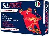 BLUFORCE 300 MG DI TAURINA | 30 COMPRESSE DA 1000 Mg | MADE IN ITALY | CON TRIBULUS MACA PERUVIANA L ARGININA INTEGRATORE ALIMENTARE