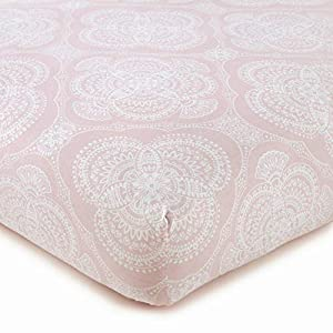 Levtex Baby – Willow Crib Fitted Sheet – Fits Standard Crib and Toddler Mattress – Medallion Pattern – Pink and White – Nursery Accessories – 100% Cotton