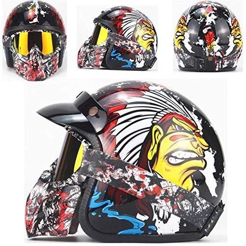 ZHXH Casco de moto Retro Harley casco de cara abierta 3/4 Cruiser DOT certificado hombres y mujeres calcomanía de motocicleta casco y visera gafas bicicleta calle scooter casco (color opcional)