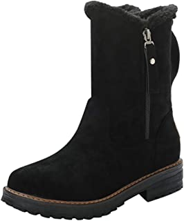 Women Winter Snow Boots, Ladies Solid Round Toe Side Zipper Warm Booties Non-slip