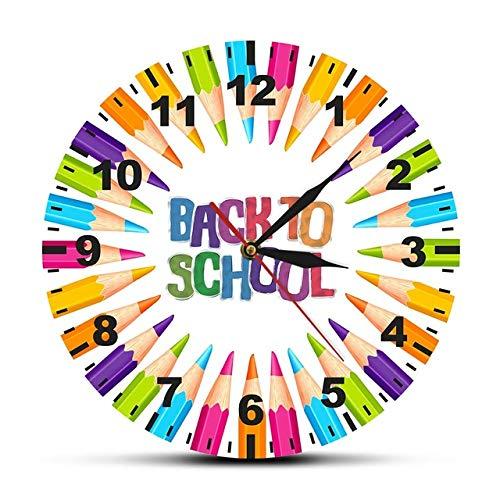 HIDFQY Zurück zur Schule Buntstift Schule Kindergarten Dekoration Uhr Buntstift Lehrer Klassenzimmer runde Uhr stumme Taschenuhr Rahmenlos