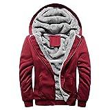 MRULIC Herren Hoodie Pullover Winter Warme Fleece Jacke Zipper Sweater Jacke Outwear Mantel RH-054(Rot,EU-48/CN-XXL)