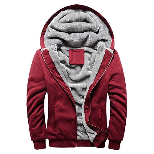 MRULIC Herren Hoodie Pullover Winter Warme Fleece Jacke Zipper Sweater Jacke Outwear Mantel RH-054(Rot,EU-46/CN-XL)