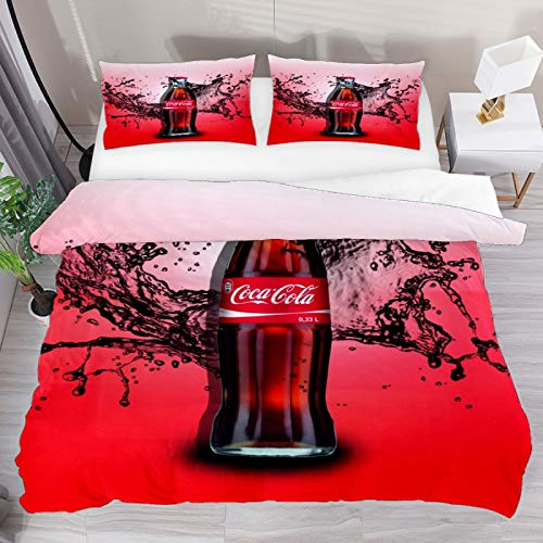 Set copripiumino super king con bottiglia di Coca Cola, 3 pezzi, copripiumino e 1 federa per cuscino, 1 copripiumino.