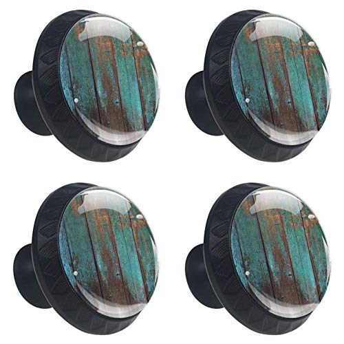 4 Pieces Set Cabinets Hardware Round Furniture Knobs Country Rustic Distressed Teal Green Barn Wood Print,Drawer Dresser Cupboard Wardrobe Pulls Handles for Home Kitchen