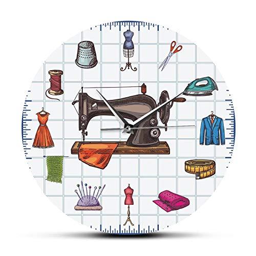 gongyu Tiempo de Acolchado costurera artesanía habitación Pared Arte Reloj Accesorios máquina de Coser decoración del hogar Reloj de Pared Regalo para Ella