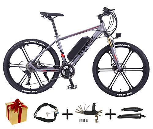 XCBY E-Mountainbike, E-Bike - 27 Gang, 26-Zoll, 350W Motor, 30 Km/H, Austauschbare Lithiumbatterie, FüR Jedes GeläNde Geeignet,Herren E Bike Trekking Gray-90KM