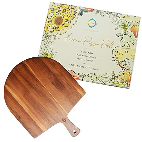"""Wood Pizza Board - Wooden Pizza Paddle - Acacia Wood Pizza Peel - 17""""x13"""" - Cheese Board - Charcuterie Board - Baking Spatula - Farmhouse Wall Decor - Bread Board - Great for Gifts - 7 Degrees West"""