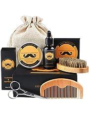 Skäggvårds-kit, fixget skäggkit för män grooming & vård med skäggolja balsam kam borste sax - perfekt present till män pappa make pojkvän