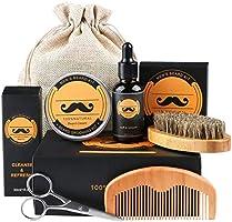 Skäggvårds-kit, fixget skäggkit för män grooming & vård med skäggolja balsam kam borste sax - perfekt present till män...
