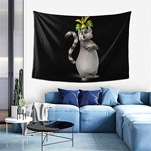N-X King Julien The Penguins of Madagascar Wall Hanging Tapestry Art Home Decorations for Living Room Bedroom Dorm Decor 60X40 inches