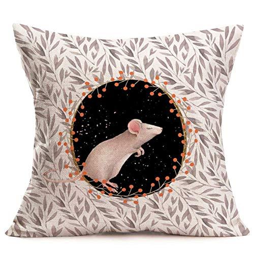 375 Fundas de almohada decorativas con diseño de ratón con hojas de cerezo, color negro, fundas de almohada de lino y algodón, diseño de animales en el cielo nocturno