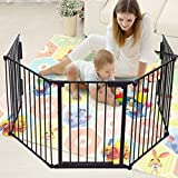 JAXPETY 25'x 30' 5 Panel Baby Safety Fence Hearth Gate BBQ Fire Gate Fireplace Metal Plastic Pet Dog Cat Black