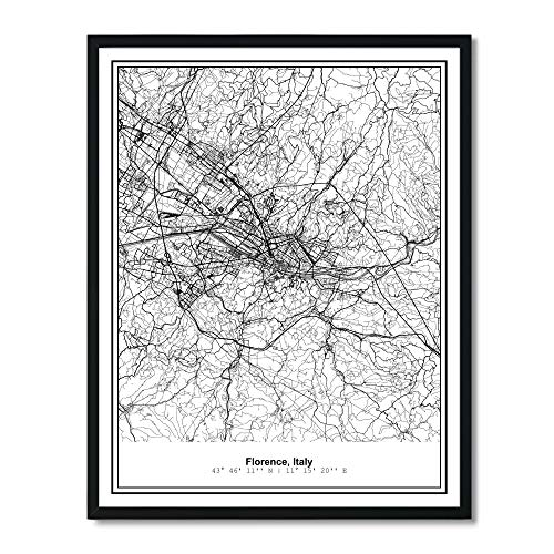 Susie Arts 11X14 Unframed Florence Italy Metropolitan City View Abstract Street Map Art Print Poster Wall Decor V257