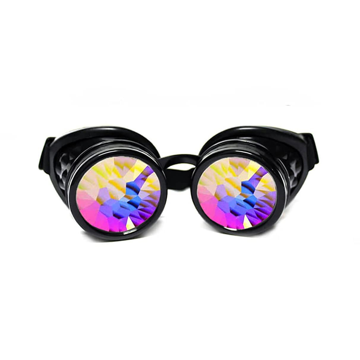 GloFX Padded Kaleidoscope Goggles - Prism Steampunk Cyber Real Crystal Rainbow Lenses