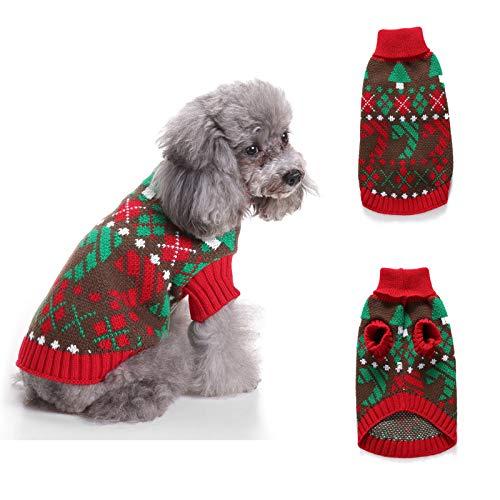 Gestrickter Rollkragenpullover für Hunde - Weihnachts-Rauten- und Schneeflockenmuster Kaltwetter-Hundekleidung,warmer und weicher Winterhundemantel,Santa Pet-Pullover für kleine,mittelgroße Hunde