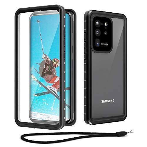 Beeasy Hülle für Samsung Galaxy S20 Ultra, wasserdichte 360 Grad Schutz mit eingebauter Bildschirmschutzfolie,Stoßfest Outdoor Handy Hülle Militärstandard Schutzhülle Robust Stürzen Handyhülle,Schwarz
