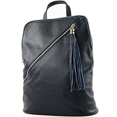 modamoda de - T161- ital Damen Rucksacktasche 3in1 aus Leder, Farbe:T161 Dunkelblau