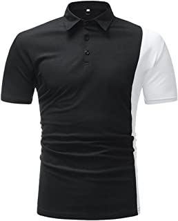 Business Mens Slim Fit Shirt Short-Sleeve Polo Tops Patchwork Tee