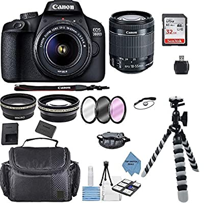 Canon EOS 3000D/Rebel T100/ EOS 4000D Kit with EF-S 18-55mm f/3.5-5.6 III Lens + Accessory Bundle +TopKnotch Deals Cloth from Canon Intl.
