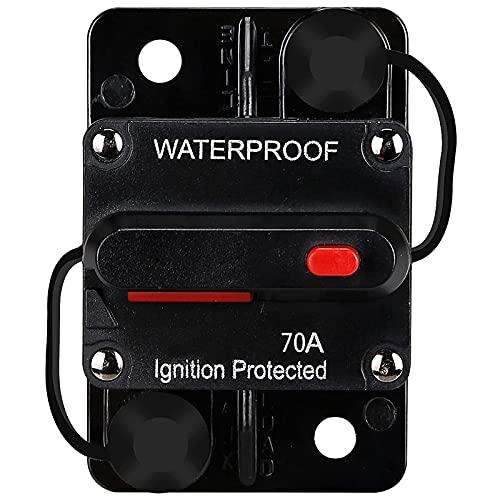 Runtodo Disyuntor impermeable,Con restablecimiento manual,12V-48V,70A,para coches Marine Trolling Motors Boat Power Protect
