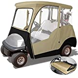 KAKIT 800D 2-PersonGolf Cart Enclosurewith Roll-up Windshield, Universal Golf Cart Rain CoverFits Club Car Precedent 2000-2019, Seat Cover and Storage Bag Included