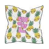 QMIN - Pañuelo cuadrado de seda, diseño de frutas tropicales con cita de piña, pañuelo de pelo, ligero, para mujer, 60 x 60 cm