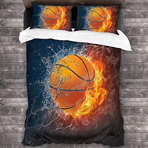 FETEAM 86'x70' Juego de Cama Microfibra 100% Suave Pelota de Baloncesto en Fuego y Agua Bedding Sábanas Pareja DE Almohadas