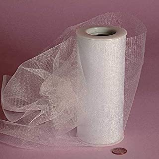 Shimmer Tulle Ribbon Rolls - 25 Yards - 6 Inches Wide (Shimmer - Glimmer White)