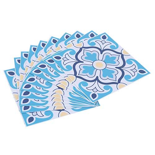 10 Uds adhesivos de pared impermeable autoadhesiva decoración de azulejos baño cocina papel protector deslizante PVC patrón colorido