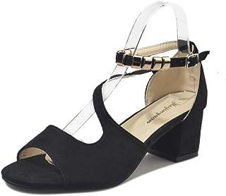 af4bda6e9f LXDABAOFA Sandalias De Mujer,Zapatos De Tacón Alto para Mujeres Sandalias  Gruesas Romanas Tacones Altos