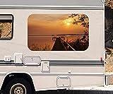 3D Autoaufkleber Steg am See Sonnenuntergang Meer Wohnmobil Auto KFZ Fenster Motorhaube Sticker Aufkleber 21A1008, Größe 3D sticker:ca. 161cmx 96cm
