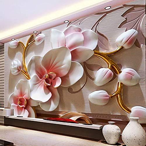 YunYiBZ Benutzerdefinierte Irgendeine Größe Wandbild Tapete 3D Geprägte Orchidee Blumen Foto Tapeten Wohnzimmer Tv Sofa Hintergrund Wand Wohnkultur Wandbilder,500cm(W) x280cm(H)