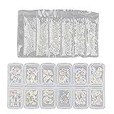 Gergxi Set de diamantes de imitación de uñas, AB Crystal Rhinestones Nail Art Set de gemas iridiscentes de clase transparente con parte trasera plana brillante, blanco y AB