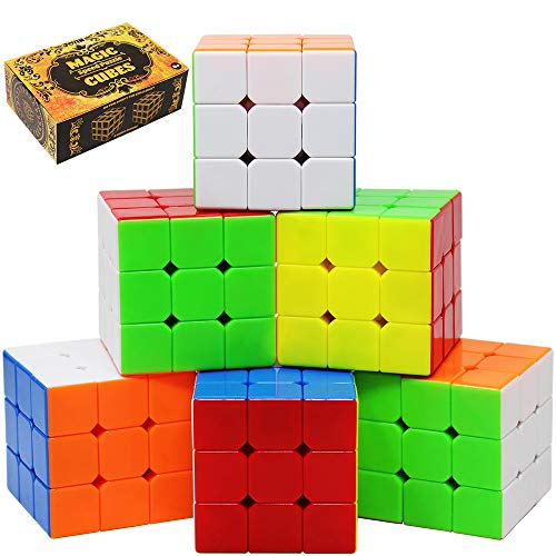 Speed Cube 6 Pack Magic Cube 3x3x3 Cube; Easy Smooth Turning Stickerless Anti-Pop Structure and Durable Puzzle Toys for All Age Kids and Adults, Professional Plays, Christmas Stocking Stuffers