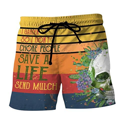 FD Izmn Men Novelty Funny Cock Swim Trunks Chicken Beach Shorts - Short Dick Men Printed Summer Swimsuit Pants Trousers Yellow