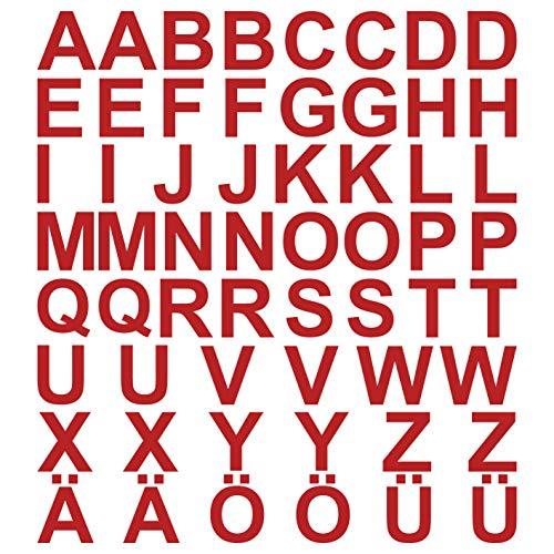 kleb-Drauf® | 58 Buchstaben, Höhe je 5 cm | Rot - matt | Autoaufkleber Autosticker Decal Aufkleber Sticker | Auto Car Motorrad Fahrrad Roller Bike | Deko Tuning Stickerbomb Styling Wrapping