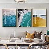 HJKLP Impresiones en Lienzo de paisajes costeros Coloridos Cuadros Abstractos e imágenes artísticas Mural nórdicas para la decoración Moderna de la Sala de Estar Cuadro 40x50cmx3 sin Marco