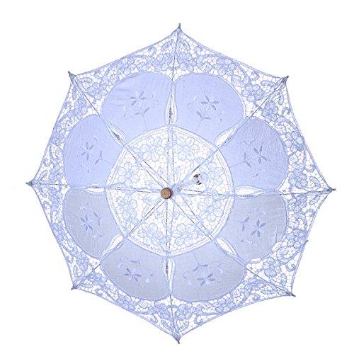 LUOEM Blanco de la Boda del Paraguas del Parasol de la Boda Paraguas de la Novia Paraguas Blanco Foto Prop para decoración Nupcial de la Boda tamaño S